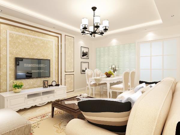 客厅营造出时尚、高贵、轻松、愉悦的视觉感空间,营造出一个朴实之中的时尚简欧家居设计。