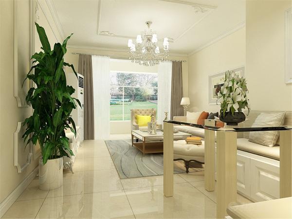 客厅地面是浅米黄色的地砖,墙面是米黄色的乳胶漆,电视背景墙做了石膏线的造型,顶面也是石膏线的造型,