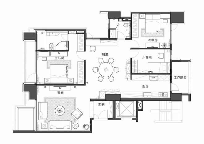 三居 中式风格 收纳 旧房改造 80后 户型图图片来自爱尚易格装饰在新中式设计装修的分享