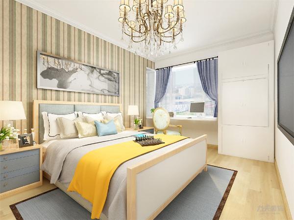 主卧室背景墙用石膏板和挂画做装饰,白、黄、黑搭配的床整体体现温馨的感觉,柔和的色调,不会显得混乱。      次卧背景墙主要用一些装饰品来装饰。实用深蓝的窗帘和装饰物,使空间看起来不单调。