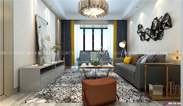 影视墙采用护墙板与装饰线条做元素,简洁大方,明黄色的窗帘与抱枕呼应,提亮整个空间的色调。
