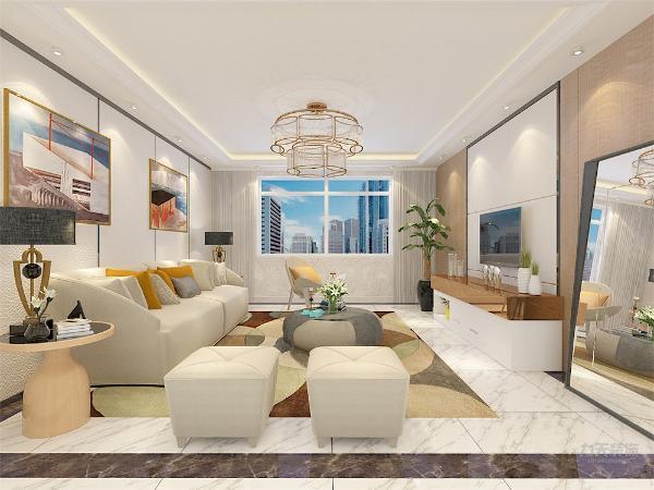 客厅作为待客区域,空间布局合理,用白色地砖搭配深咖色波打线作为空间划分,搭配软装,使整体看着宽敞明亮颜色搭配分明。墙面采用壁纸,这样使视觉上有温馨感,色彩也更加丰富。