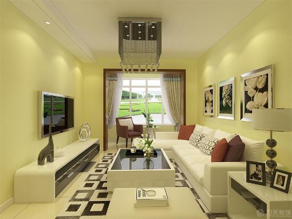 本案为海上国际城三室两厅一厨一卫97平米的户型。这次的设计风格定义为现代简约风格。 本案在室内,客厅全部采用淡黄色,地砖采用800*800地砖通铺。