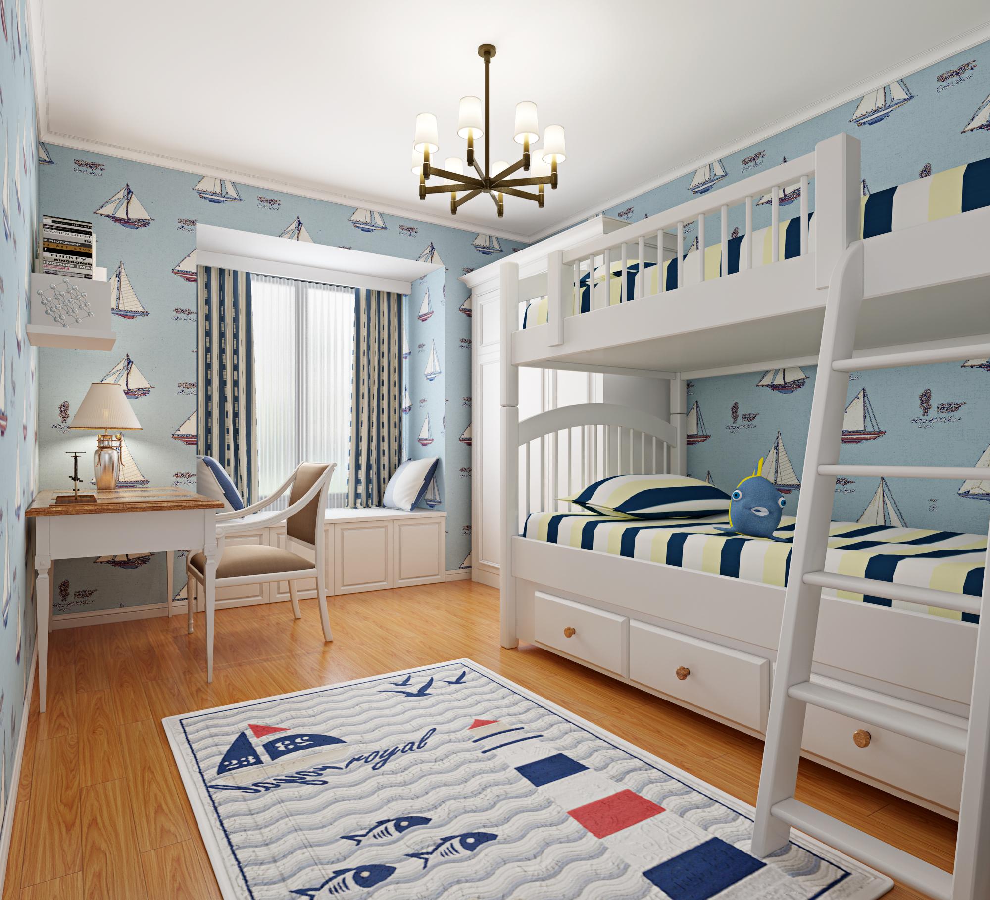 中豪汇景湾 简约美式风 实创装饰 装修设计 儿童房图片来自夏曼在实创装修中豪汇景湾简约美式风格的分享