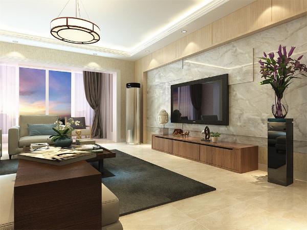 在客厅电视墙选择石材以及模板上墙来的修饰搭配木色茶几以及电视柜搭配现代的布艺沙发 整体灰色调,