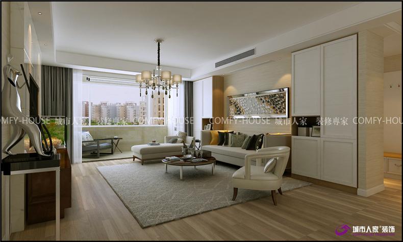 简约 东城逸家 客厅图片来自济南城市人家装修公司-在东城逸家140平装修效果图的分享
