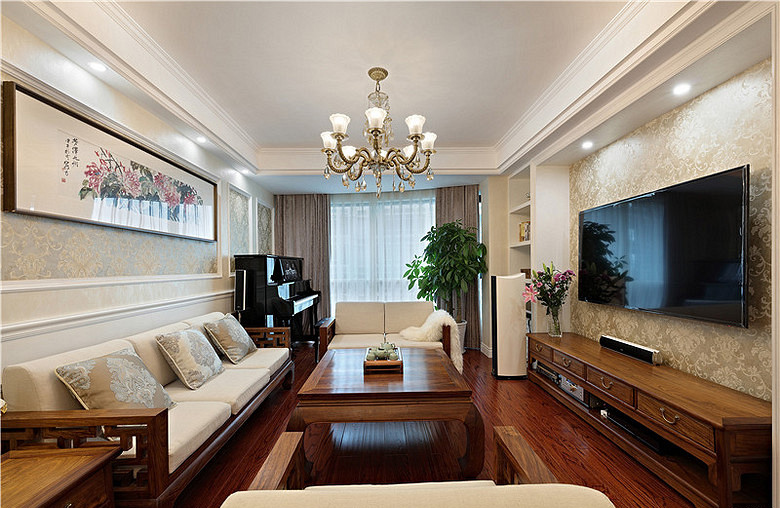 客厅图片来自家装大管家在清新淡雅 123平现代简约混搭3居的分享