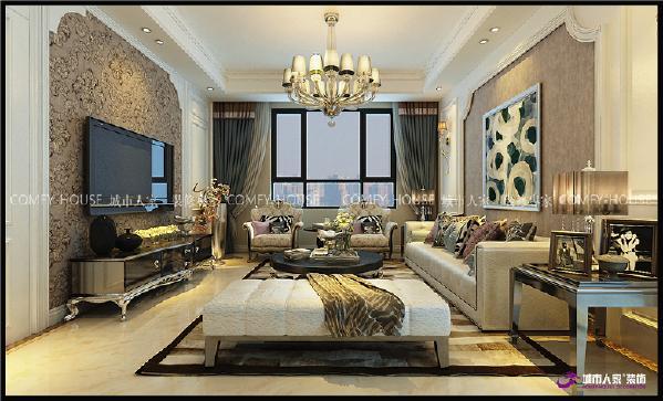 进门鞋帽柜和餐厅柜巧妙结合,左右对称,中间内嵌端景装饰处理,和影视墙材质交相呼应。