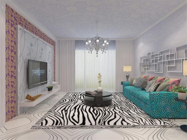 在电视背景墙的装饰上,我们采用了碎花壁纸和文化壁纸装饰背景墙,表现了一种清新气息感,沙发采用布艺的图案造型,加黑白地毯让整个空间出现了亮点。沙发背景墙采用的是装饰铁艺使背景墙更富有生气。