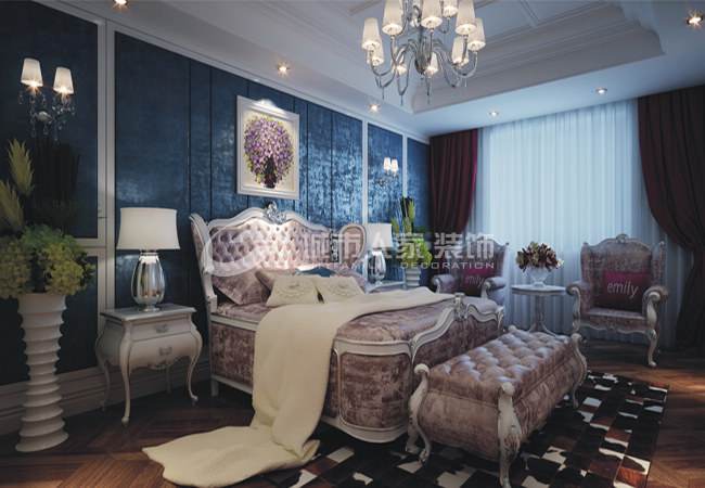 新古典 三居 西安装修 浐灞半岛 白领 卧室图片来自西安城市人家装饰王凯在新古典主义优雅三居的分享