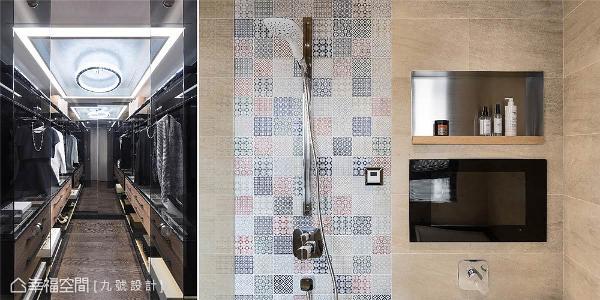 主卧更衣室和卫浴都带入一些华丽元素,墙面局部拼贴的花砖,平衡全室简约刚硬的调性,也满足女主人向往的奢华感。