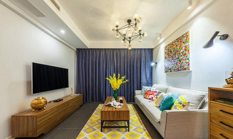 客厅图片来自家装大管家在唯美纯净 88平北欧风情时尚空间的分享
