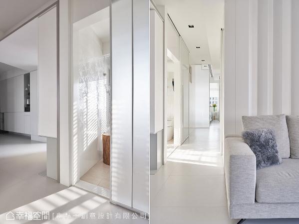 白色铁件拉门搭配雾玻材质,让光线走入空间内部,成为最佳装饰元素。