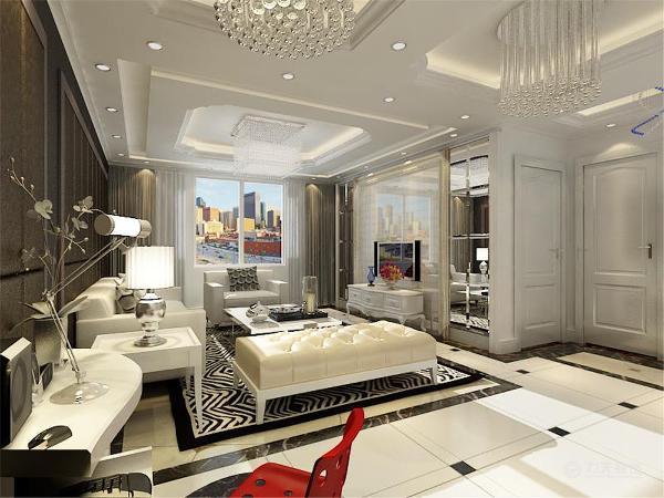 沙发背景墙设置成深颜色的现代软包,与白色的家具以及地板形成了鲜明的对比,电脑桌的设计是主人方便学习与休闲的好想法。