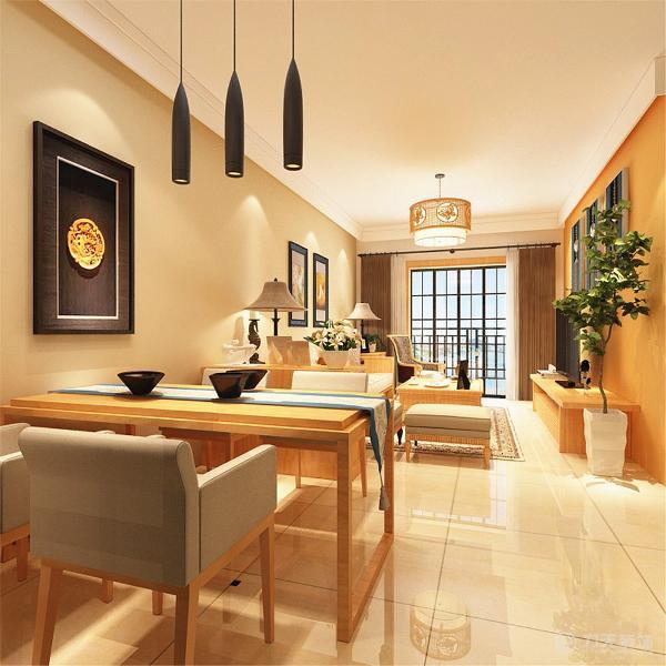 在沙发背景墙是做了日式的挂画再加上整个空间的色调把握,就用最少的装饰和元素装出了日式的感觉,业主喜欢原木的家具,所以我们添加了简约的原木色家具。