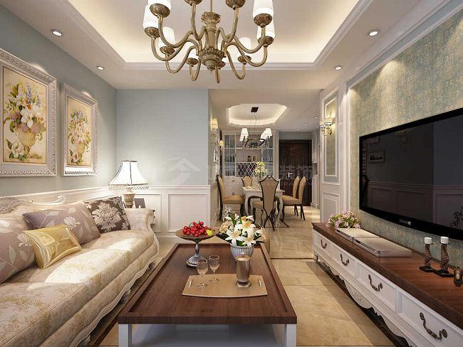 美式 三居 西安装修 80后 国金华府 客厅图片来自西安城市人家装饰王凯在温馨甜蜜的美式空间的分享