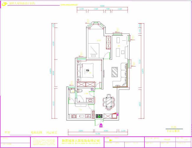 美式 三居 西安装修 80后 国金华府 户型图图片来自西安城市人家装饰王凯在温馨甜蜜的美式空间的分享