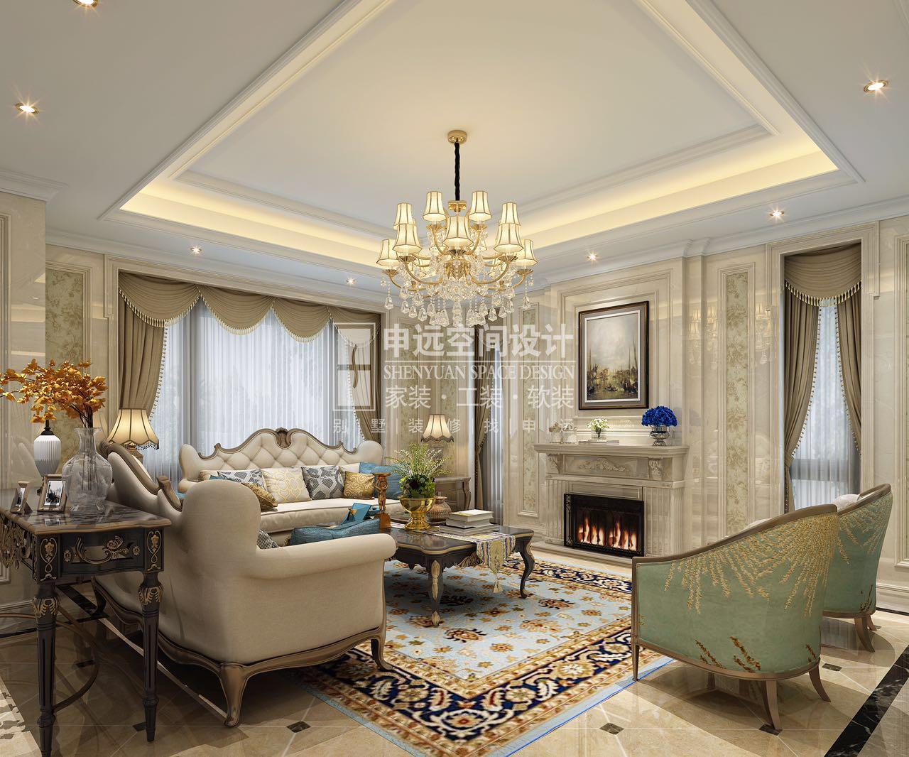 客厅图片来自申远-小申在长泰西郊 300平 中欧混搭的分享