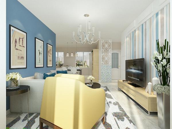 影视背景墙用L形成石膏板做2公分厚上墙内贴放壁纸。沙发背景墙刷蓝色乳胶漆,其他空间通刷浅咖色乳胶漆。