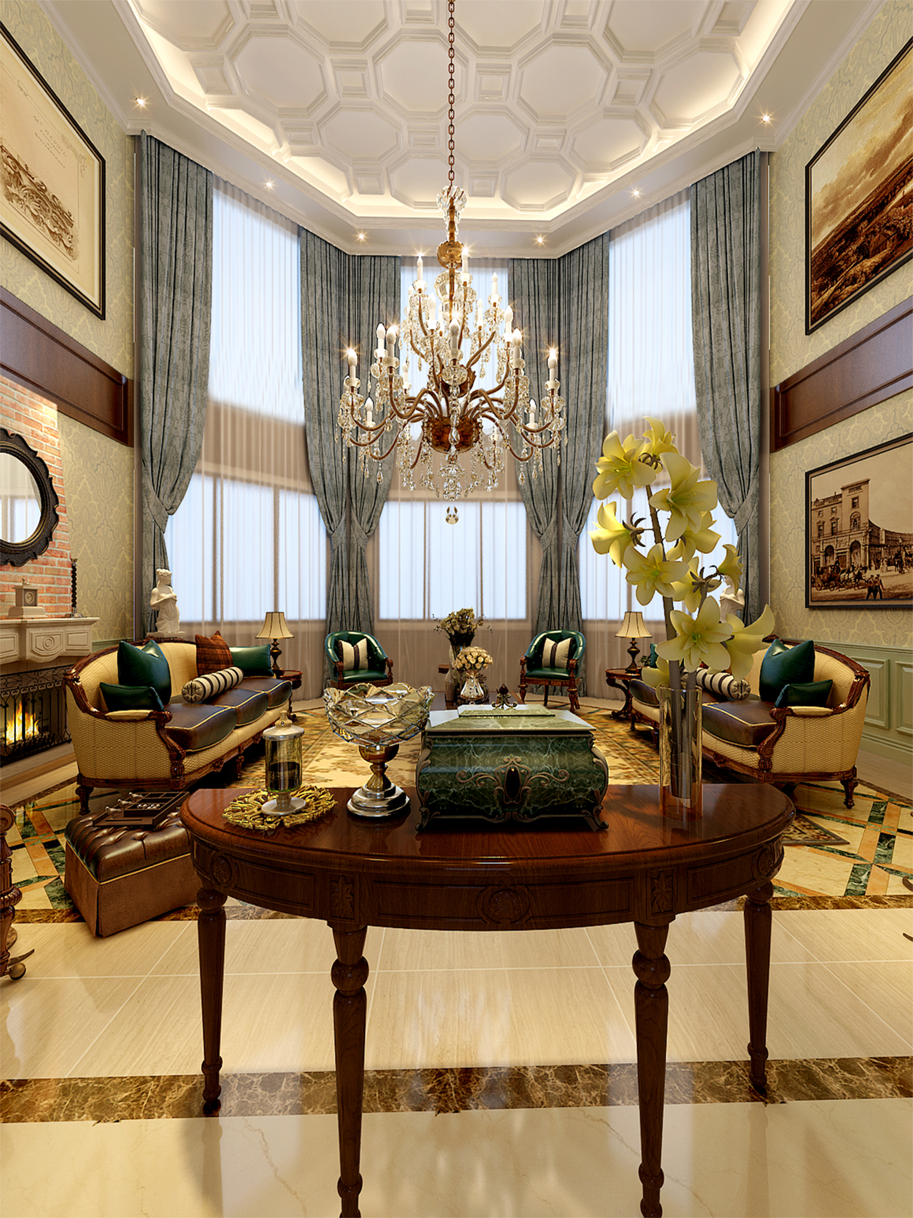 客厅图片来自业之峰装饰旗舰店在欧式小洋房的分享