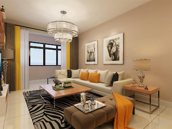 客厅以浅色系为主,客厅影视墙利用木质的书架增加储物空间的同时也和墙体颜色形成呼应,主卧室采用简洁的图案的各种布艺相得益彰。