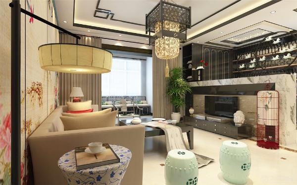 客厅电视背景墙采用木纹搭配壁纸画,中间用镜面映衬,美观大方。所有的家具都用简化线条美感的的中式家具,整体感觉让人觉得很舒服。让整体有和谐感。