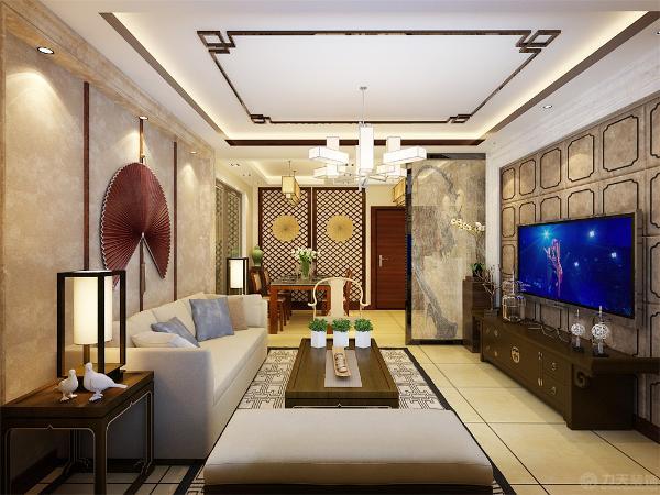 餐厅与客厅相连,餐厅背景墙安装一组实木镂空网格屏风,旁边放了一个艺术品展架,餐厅与玄关相连,安装了三组筒灯,提高空间亮度