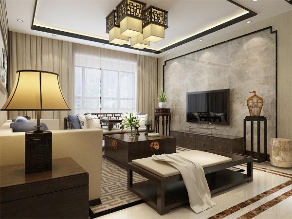 客厅的右边是主卧室,同样采用了新中式的风格,且房间的朝向为南向,使得整个房间更加宽敞明亮,端庄雅致