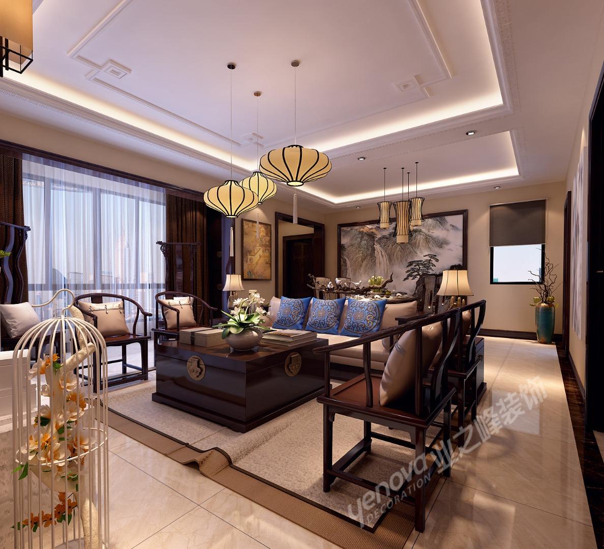 客厅图片来自青岛业之峰装饰--小娟在鼎世华府 新中式的分享