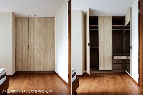以系统板材打造家具与柜体,创造收纳机能且兼具视觉美感。