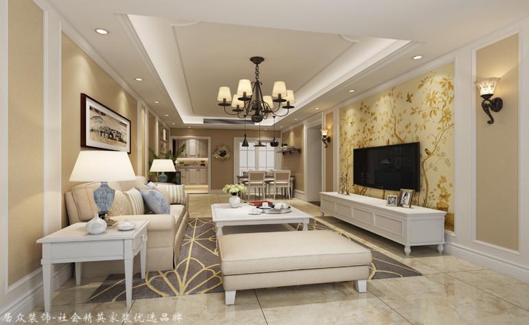 简欧 小户型 三居 客厅图片来自杭州居众装饰集团设计院在金色蓝庭-简约欧式-89平方的分享