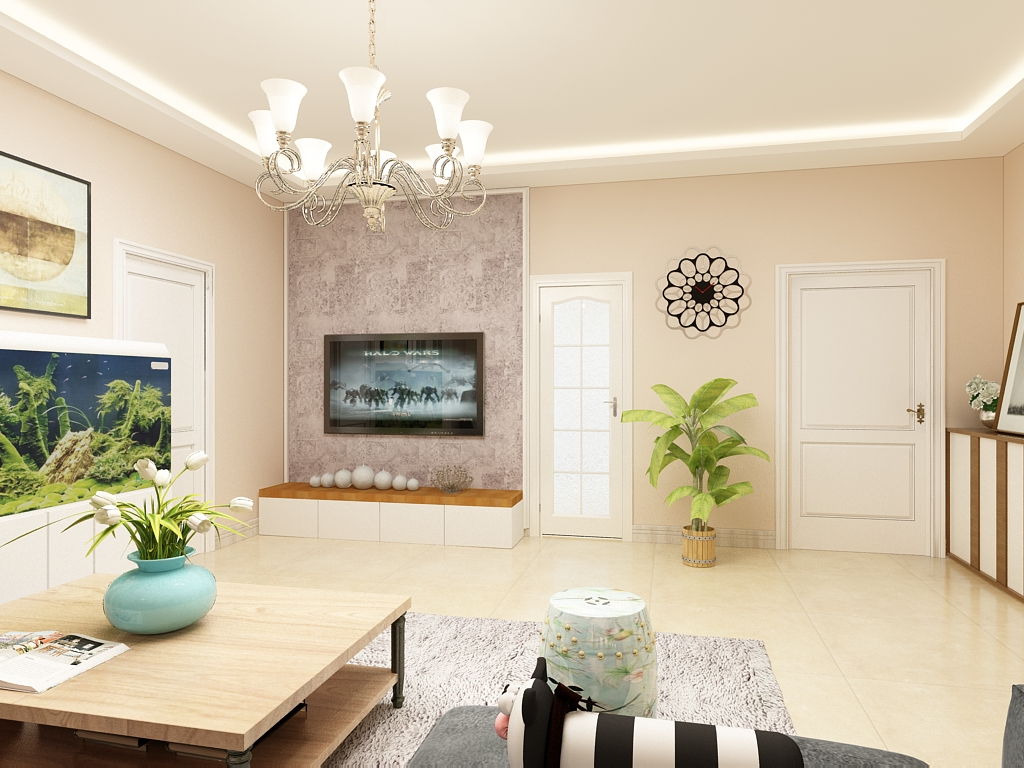 简约 二居 三居 客厅 卧室 厨房 餐厅图片来自不再是筱孩在瑞城-109㎡-现代简约的分享