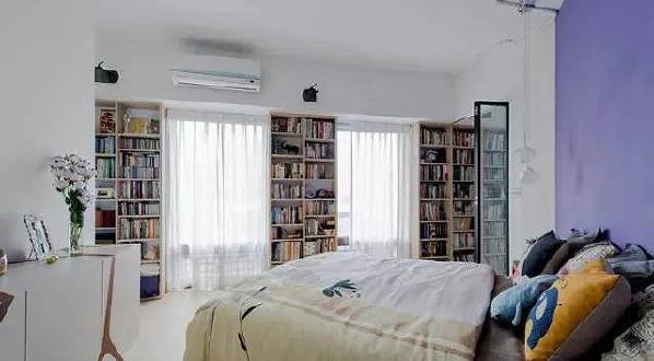 沿着书架和落地窗走入房中,少了潜意识中有区划、隔阂等心理暗示的门片,就此多了一份在家轻松闲逛、游走的闲雅乐趣。