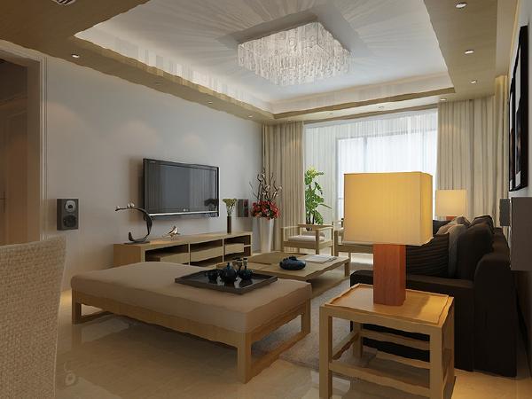 客厅的天花采用挑高设计,立体空间的视野十分开阔。