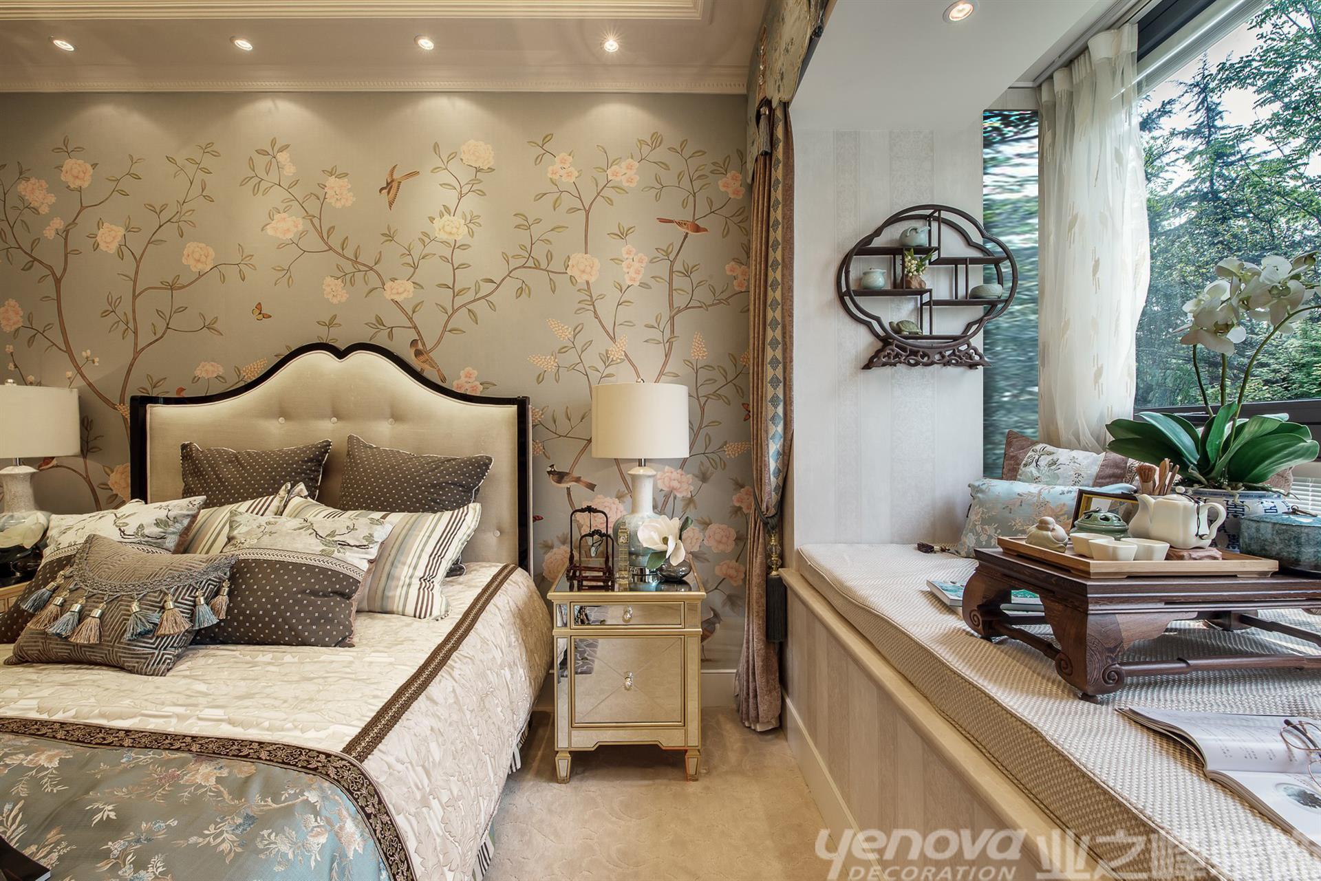 美式风格 壁炉 三居 海边 卧室图片来自青岛业之峰官方客服--小万在晓港名城 121平 美式风格的分享