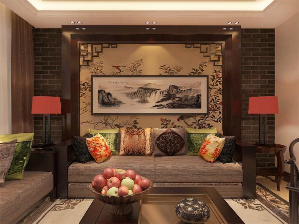 客厅整体空间以深色系木质为主为空间带来安定感,地面通铺800*800平米的地砖,墙面通铺黄色系的壁纸,增加层次之感,沙发以及电视背景墙都为深色木质,使整体空间感觉更加丰富