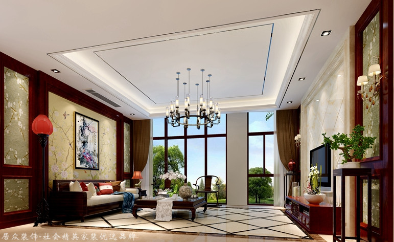 中式 别墅 客厅图片来自杭州居众装饰集团设计院在吉祥半岛 -中式-320平的分享