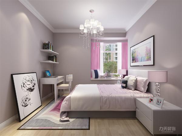 卧室则同样采用了现代简约素朴的手法。在床头的设计上,我们采用了装饰画,采用了重叠拼接,再加以挂画,构成了床头背景。由于户型问题,主卧设置了卫生间,供户主自己使用,保证了私密性