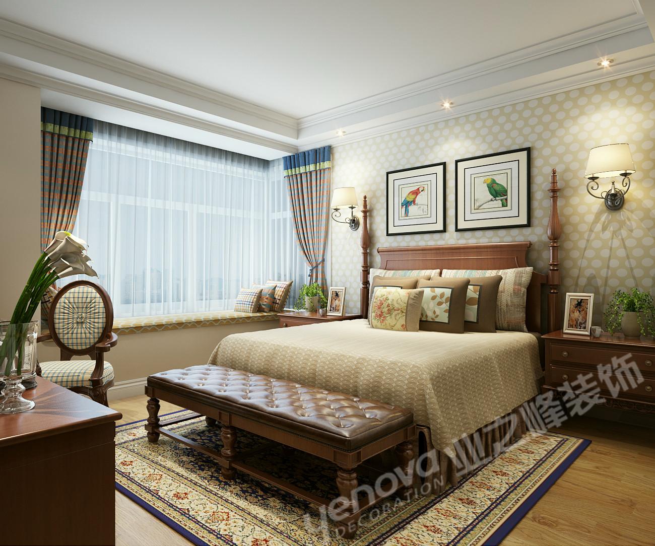 美式风格 三居 乡村美式 卧室图片来自青岛业之峰官方客服--小万在晓港名城 161平 美式风格案例的分享