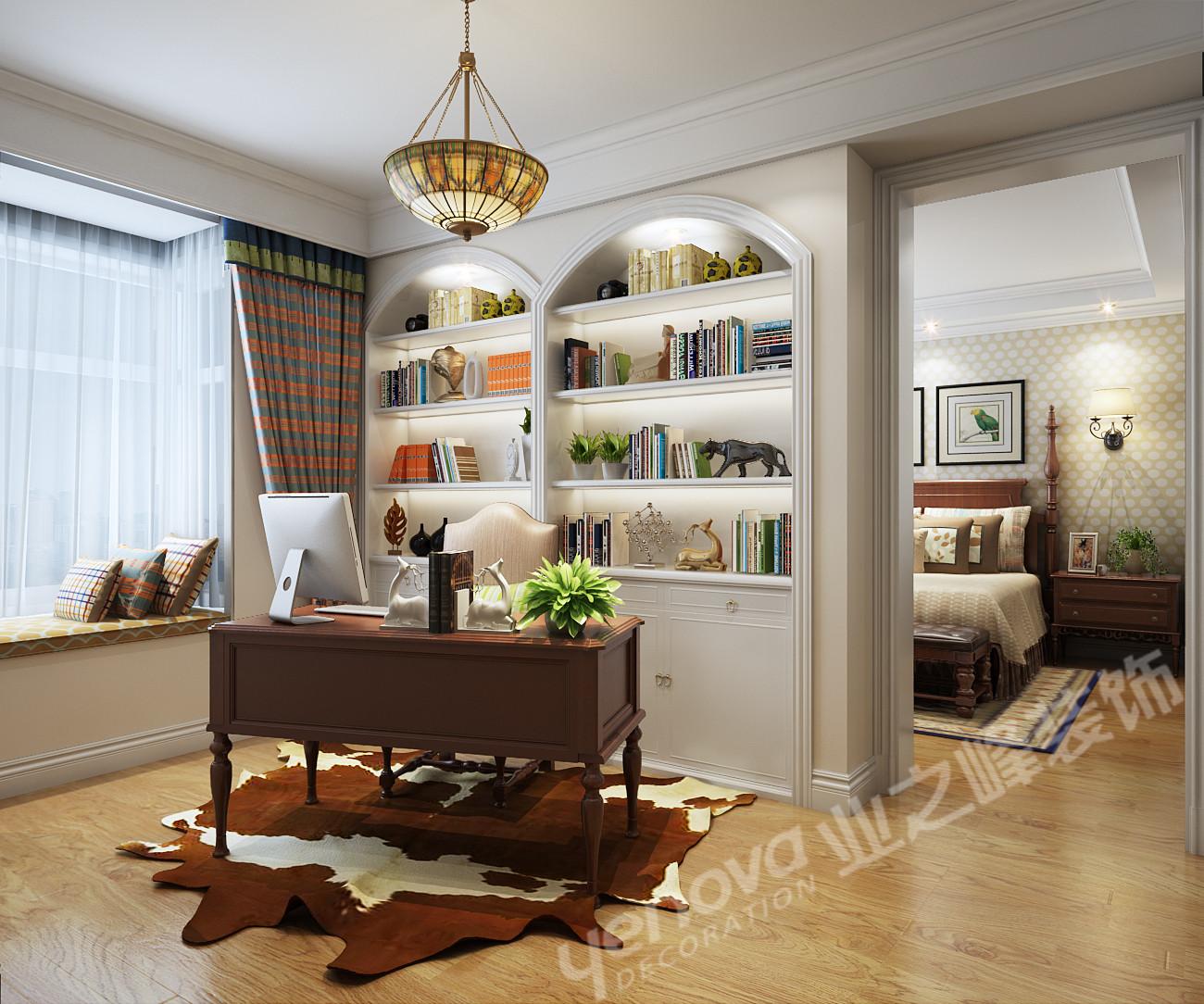 美式风格 三居 乡村美式 书房图片来自青岛业之峰官方客服--小万在晓港名城 161平 美式风格案例的分享