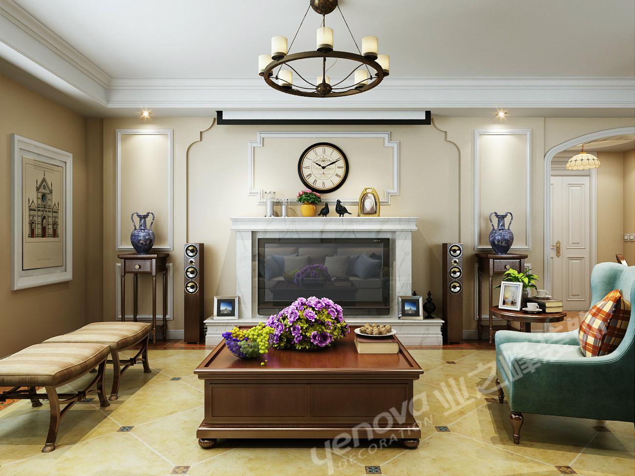 美式风格 三居 乡村美式 客厅图片来自青岛业之峰官方客服--小万在晓港名城 161平 美式风格案例的分享
