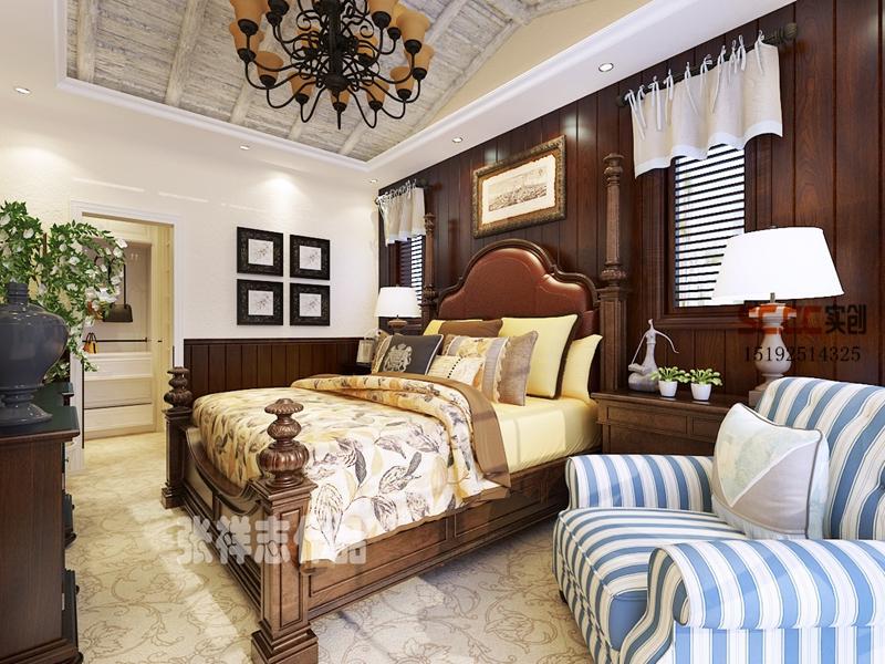 别墅 美式 龙湖滟澜海 实创 卧室图片来自快乐彩在龙湖滟澜海岸260平别墅装修的分享