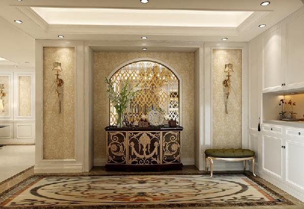 门厅简欧风格,既有欧式设计风格的一些元素,又充分利用了现代简约设计的某些优势。简欧风格的室内设计大量使用的白色调,把欧式风格设计融入现代设计中浑然一体家具风格。