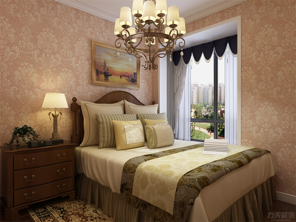 欧式 二居 收纳 小资 卧室图片来自阳光力天装饰在欧式风格-金隅悦城-93㎡的分享
