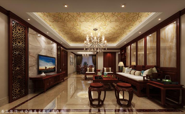 复式 中式 客厅图片来自厦门居众装饰设计工程有限公司在当代天境-中式风格-220㎡的分享
