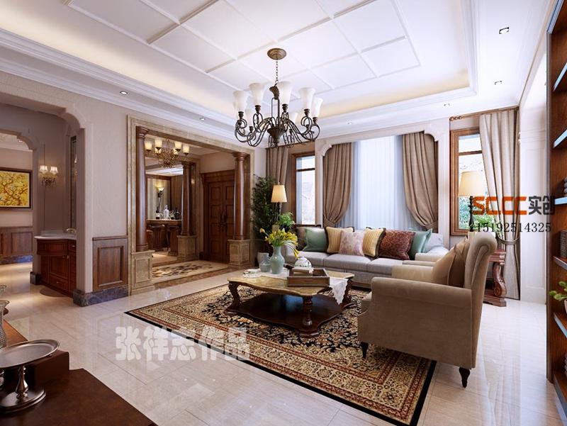 别墅 美式 龙湖滟澜海 实创 客厅图片来自快乐彩在龙湖滟澜海岸260平别墅装修的分享