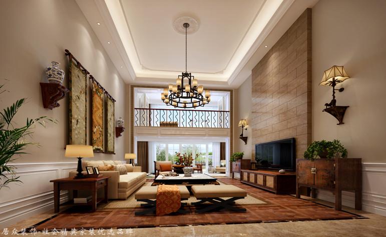 客厅图片来自昆明居众装饰设计工程有限公司在绿地海珀澜庭-美式风格-350㎡的分享