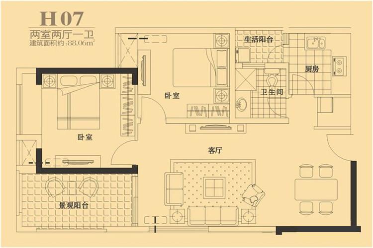 户型图图片来自西安福尚装饰家装体验馆在长安大街3号两室两厅装修效果图的分享