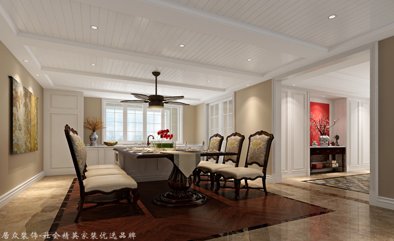 美式 别墅 餐厅图片来自杭州居众装饰集团设计院在桃花源-美式风格-344平的分享