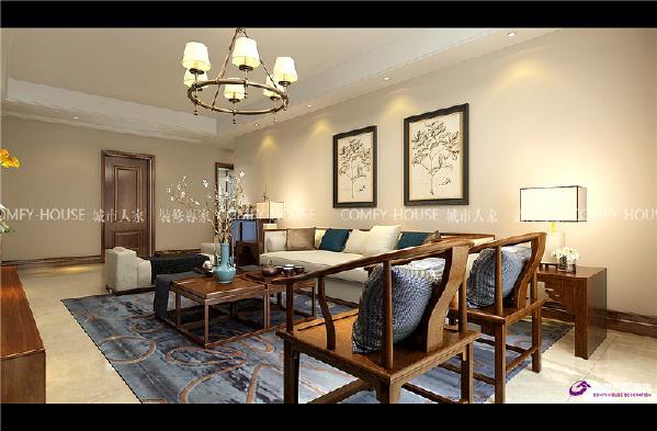 阳光100三室两厅149平新中式装修效果图